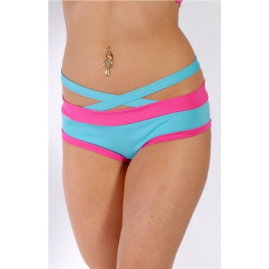 Criss Cross Brazil Shorts Teal / Hot Pink